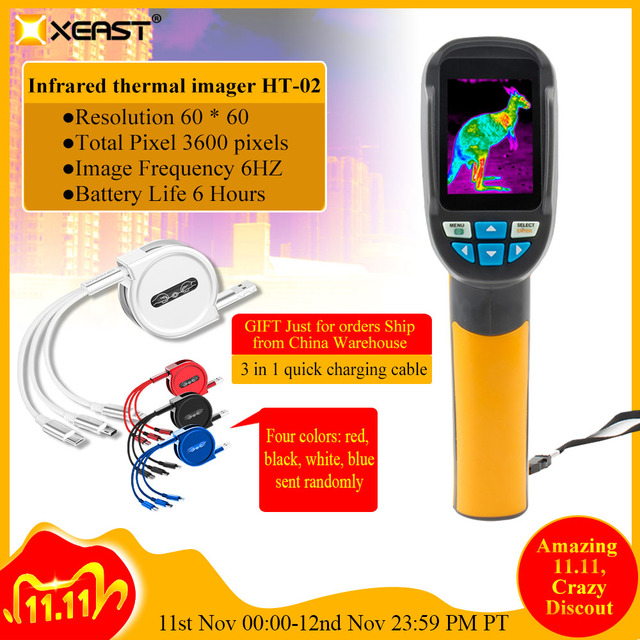 Fast delivery 2.4 inch color handheld infrared thermometer thermometer camera, 3600 pixels 60 * 60 resolution HT 02/HT 175/HT 18