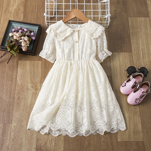 Floral Embroidery Girl Princess Lace Dress Kid Baby Party Wedding Pageant Gown Formal Dresses for 3 4 5 6 7 8 Years Girls Cloth(China)
