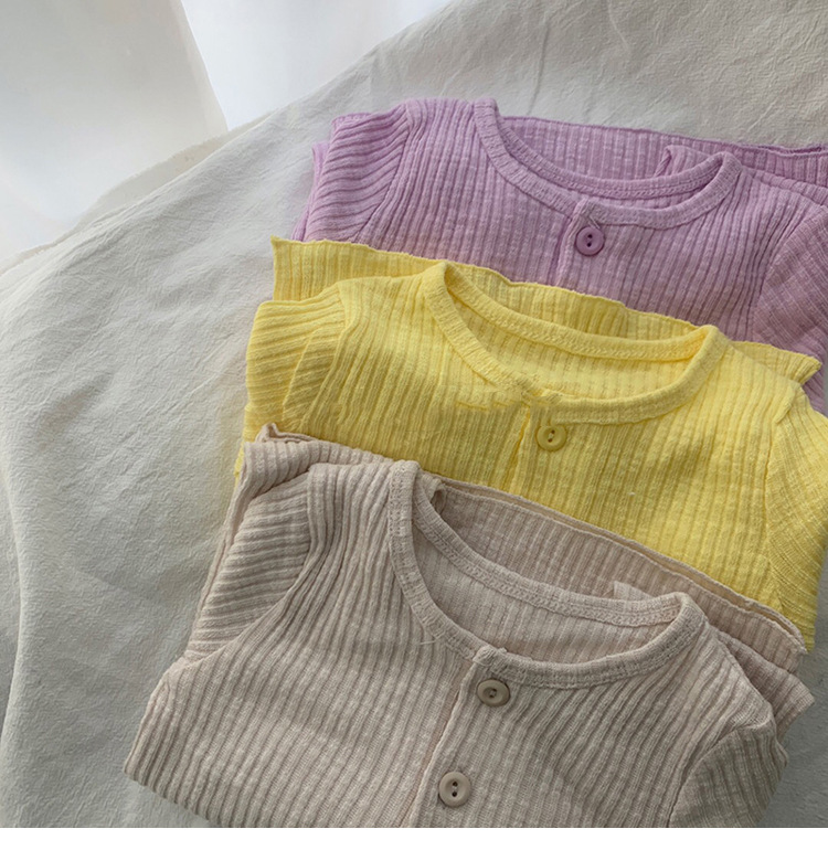 3493 New Children's Split Pajama Set Boys And Girls Solid Color Threaded Home Clothes Sets Spring 73-120cm