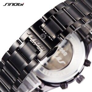 Image 5 - SINOBI lüks erkekler su geçirmez paslanmaz çelik Pilot bilek saatler Chronograph tarih spor dalgıç ışık Quartz saat Montre Homme