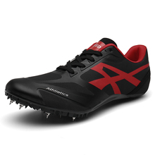 Men Women Spikes Track Field Sneakers Breathable Sprint Track and Field Shoes Outdoor Sports Black Jumping Shoes