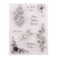 Thinking of You DIY Bouquet Stamp Flower Transparent Silicone Clear Stamp Seal Sheet For Scrapbooking Photo Album Decor