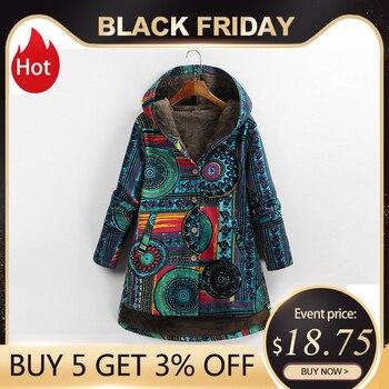 Versear femme veste en peluche manteau femmes coupe-vent vêtements d'hiver chauds imprimé fleuri à capuche poches Vintage surdimensionné manteaux Plus 1