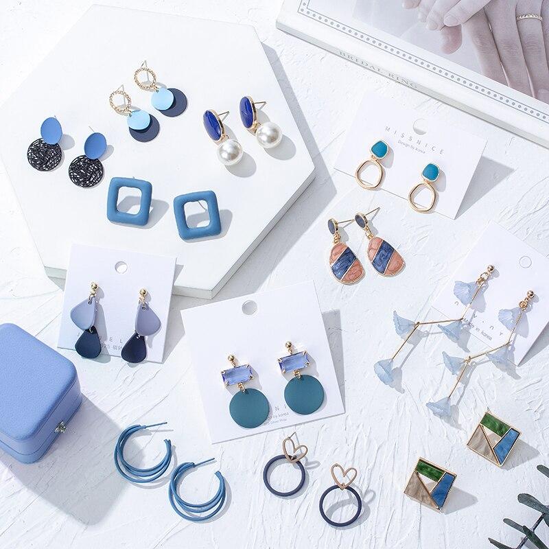 Boucles d'oreilles de forme coréenne pour femmes, bleu, de forme géométrique, en résine acrylique, pendentif goutte, style bohème, bijoux, 2020