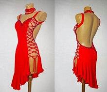 Jupe de compétition de danse latine rouge pour femmes, tenue de danse professionnelle, de haute qualité, pour dames