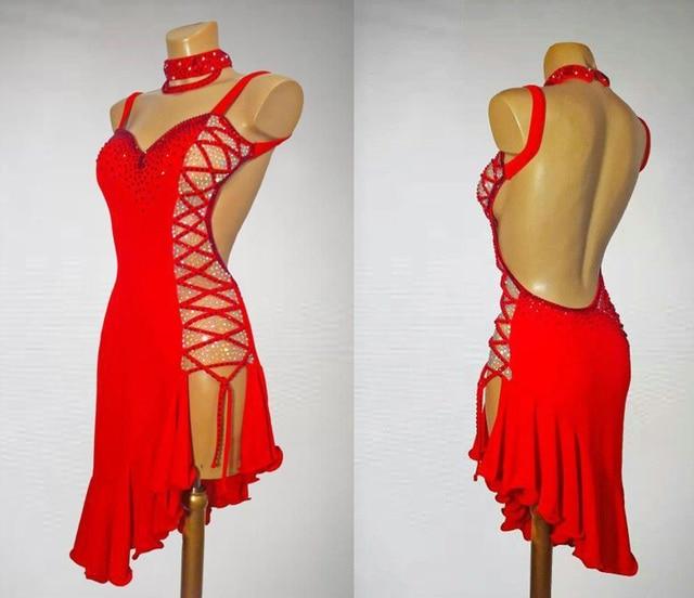 สีแดงละตินการแข่งขันเต้นรำกระโปรงผู้หญิงคุณภาพสูงProfessional Sambaละตินเต้นรำเลดี้Rumba Latin Dance DRESS