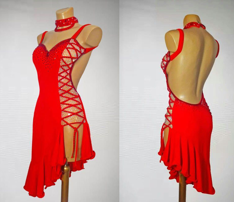 Red Latin Competition Dance Skirt Women High Quality Professional Samba Latin Dancing Wear Lady'S Rumba Latin Dance Dress