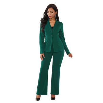 Solid Color Two Piece Set Slim Elegant Office Suit Business Wear 2019 New Autumn and Winter Women's Clothing Sexy Two Piece Suit 1