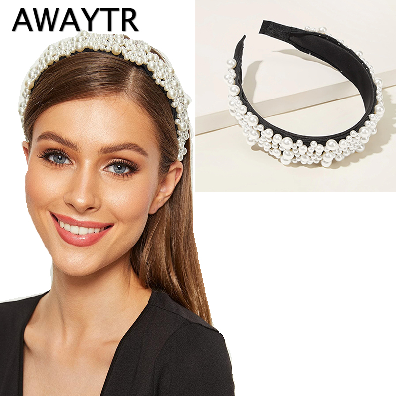 AWAYTR New Luxury Full Pearl Headband Women Pearl Decorate Ladies Hairband Bezel Headwear Girls Hair Accessories
