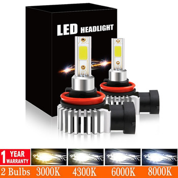 цена на Elglux Car Headlight Bulb LED H7 H1 H3 H4 H11 H8 H27 880 881 COB Chip Super Lamp 3000K 6000K 8000K Hb4 Hb3 9005 9006 12000lms