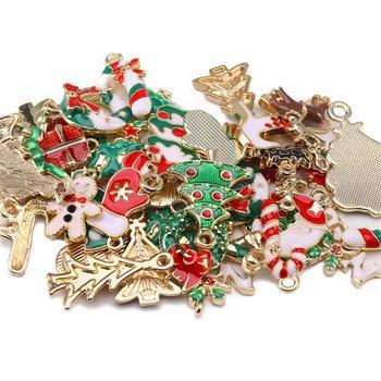 10 Uds. De dijes de Navidad, dijes esmaltados, muñeco de nieve, campana, pendientes, accesorios, adorno artesanal, dijes para fabricación de joyas