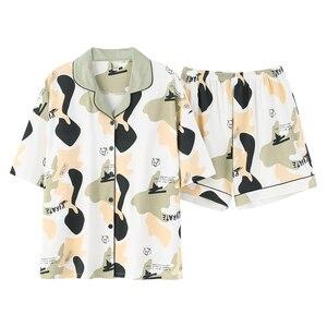 Image 5 - קריקטורה דוב נשים יאקאטה יפני קימונו פיג מה סטי 100% כותנה חלוק רחצה חליפות קצר צפצף כתונת לילה הלבשת פנאי Homewear