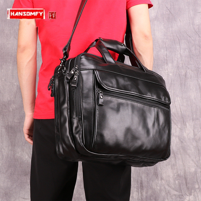 Business Fashion Men's Briefcase Retro Genuine Leather Men Handbag 15.6-inch Laptop Bag Multi-function Male Messenger Bags