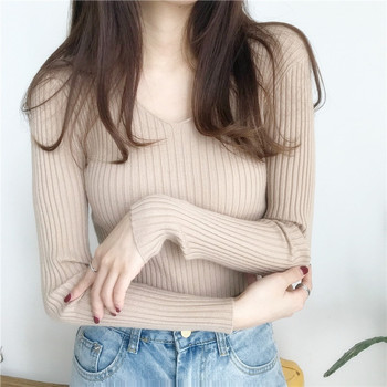 Women Pullover Sweater Pink Autumn Women V-Neck Knitted Bottoming Shirt Sweater Winter Keep warm Long Sleeve Woman Sweaters sweater women autumn and cardigan women winter v neck knitted long sleeved slim fitting tight warm shirt pullover turtleneck