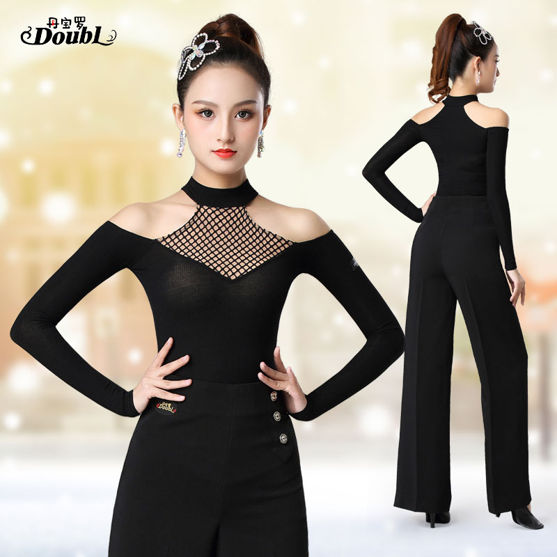 DOUBL High Collar Sexy Latin Dance Top Female Adult Upper New Long Sleeve Modern Waltz Practice Dance Clothes Costume Spring