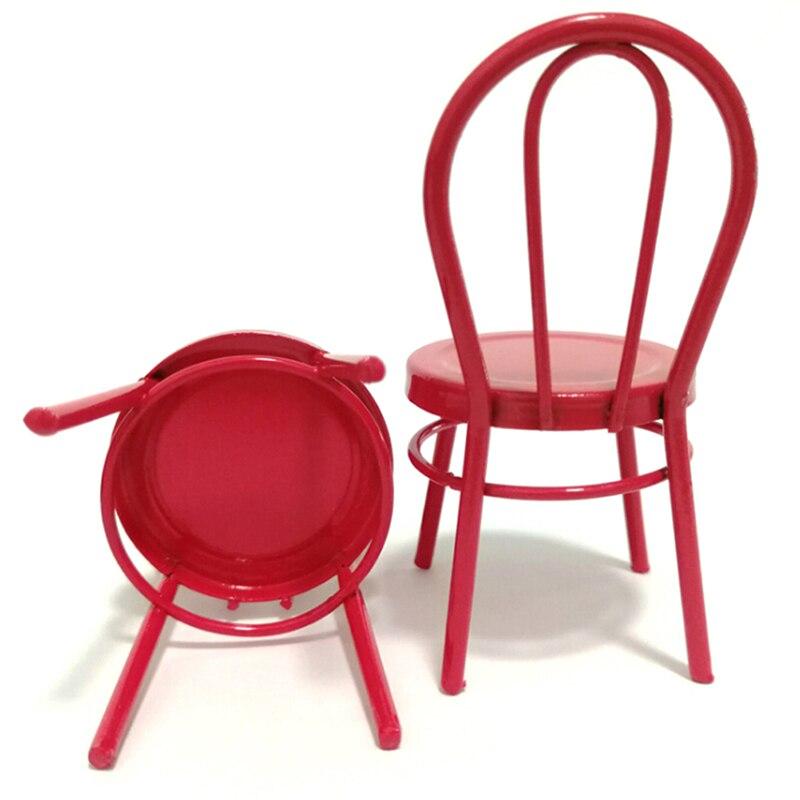 1:12 Кукольный домик Миниатюрный Железный красный стул модель для кукол дом мебель для кукол мини-стул игрушки для детей