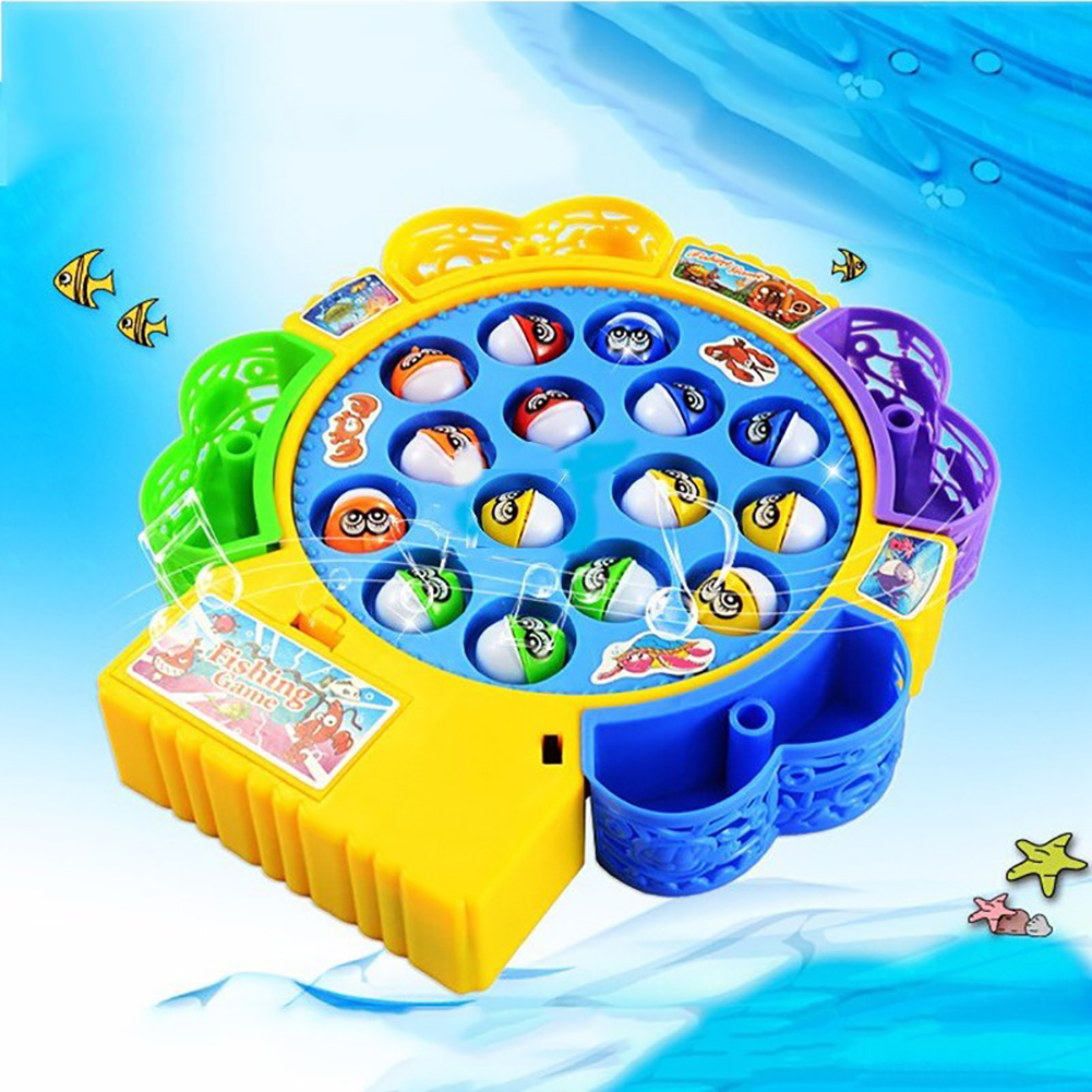 Electric Fishing Set Large Rotating Music Light Kids Game Educational Toy