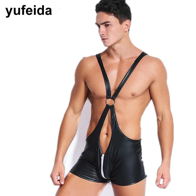 Mens Undershirts Jumpsuits Wrestling Singlet Bodysuit Open Crotch Zipper Bodysuit Penis Pouch Clubwear PU Leather Mens Underwear