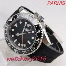 אופנה 40mm PARNIS שחור חיוג סטרילי אין לוגו ספיר שעונים גברים GMT שעון 2019 יוקרה מותג אוטומטי תנועת mens שעון