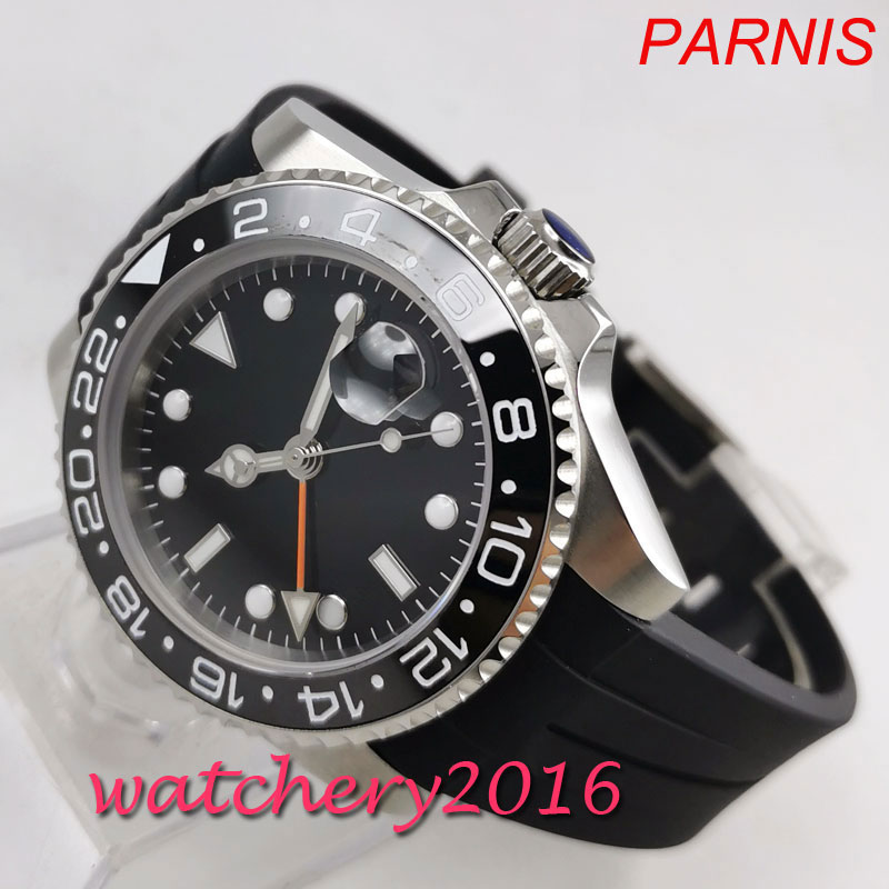 Fashion <font><b>40mm</b></font> <font><b>PARNIS</b></font> sterile Black dial No Logo Sapphire <font><b>watches</b></font> men GMT <font><b>watch</b></font> 2019 Luxury Brand Automatic Movement mens <font><b>Watch</b></font> image