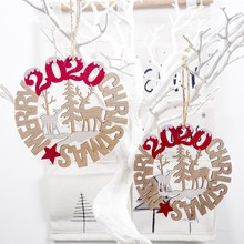 2PCS 2020 Merry Christmas Wooden Letter Pendant Charm Decoration Festival Party Supplies