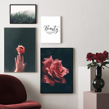 купить Home Decoration Painting Red Flowers Green Plant Landscape Canvas Art Living Room Background Wall Hanging Painting Frameless в интернет-магазине