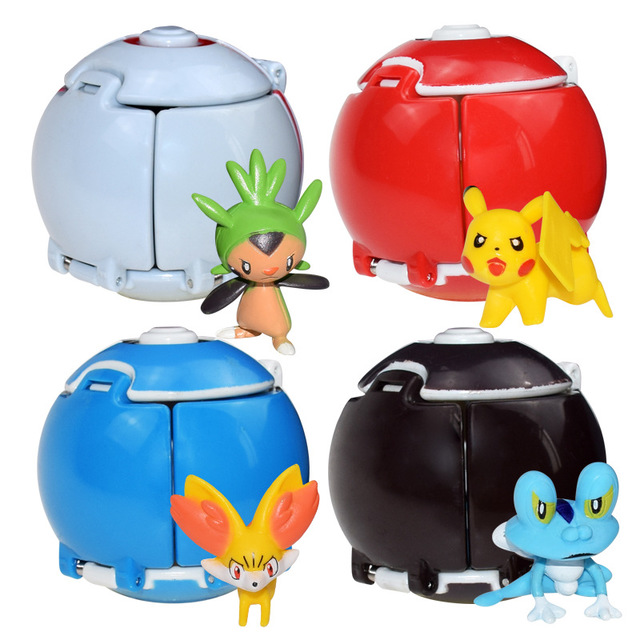 Pokemon Pikachu Poke Ball Anime Dolls Pocket Monsters Cosplay Props Toys Touch Can Flip And Explode Toy Costumes Accessories