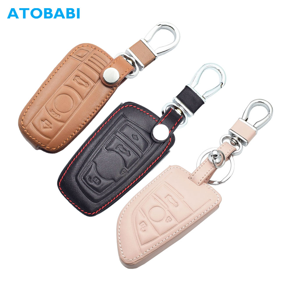 Leather Car Key Case For BMW E90 E60 E70 E87 1 3 5 6 Series M3 M5 X1 X5 X6 Z4 Keychain Holder Protector Cover Bag Auto Accessory
