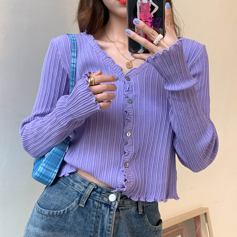 Women V-Neck Knitted Casual Ruched Short Sweaters Cardigans Lady Knitting Soft Thin Summer Cardigan Outwear for Female 1