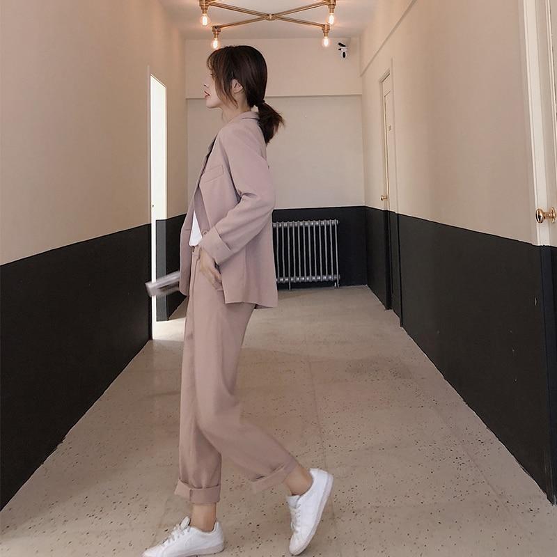 Stylish Korean Ladies Blazer Solid Pink Loose Casual Suit Jacket Long Sleeve Blazzer Mujer Vintage Office Women Blazer MM60NXZ