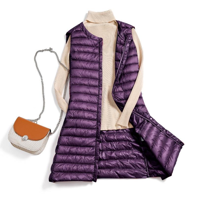 Women's Sleeveless Duck Down Vest Plus Size 4XL Portable Ultra Light Pink Khaki Casual Vests 2020 Winter Autumn Woman Waistcoat
