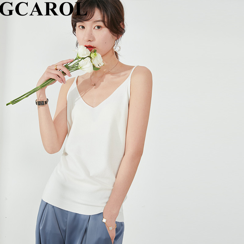 GCAROL 2020 Spring Summer Cool Camisole Women Thin Close Fitting Vest Knitted Sleeveless Sling Breathable Basic Sexy Tops