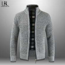 2019 Winter Men's Zipper Sweater Autumn Casual Thick Cardigan Stand Collar Knitted Jacket Solid Male Overcoat Warm Knitwear Slim(China)