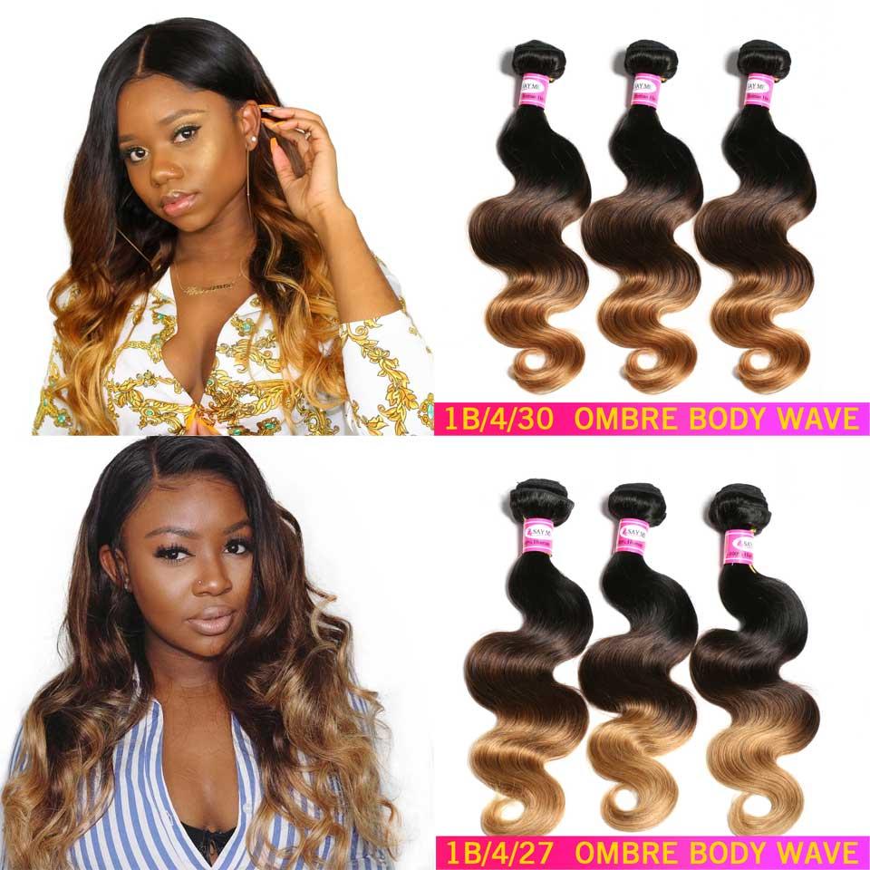 Ombre Body Wave 3/4 Bundles Deal Brazilian Hair Weave Bundles 1b/4/27 Non-Remy Honey Blonde Human Hair Extensions Medium Ratio
