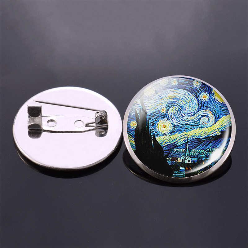 Van Gogh Art Dipinti Notte Stellata Girasole Spilla Donne Degli Uomini Distintivo Cupola di Cabochon in Vetro Dei Monili Sacchetto di Scuola Spille Spilli Regalo