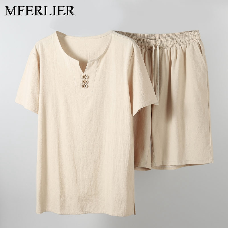 Summer Shirt Men 5XL 6XL 7XL 8XL 9XL 10XL Bust 155cm Tops With Shorts Cotton Linen Shirt Men 5 Colors