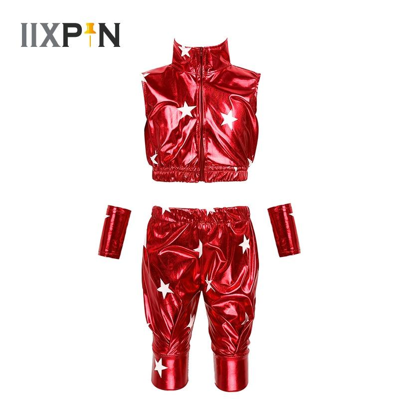 Kids Boys Girls Modern Hip-hop Jazz Dance Costume Rave Outfit Star Metallic Sleeveless Zipper Crop Top With Pants Wrist Sleeves
