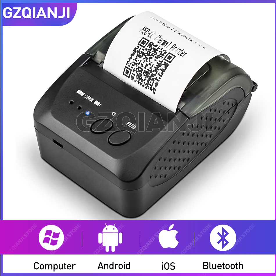 Wireless Bluetooth Thermal Printer Mobile Mini 58mm Portable Pocket Receipt Handheld Pos USB Printers For Android IOS System