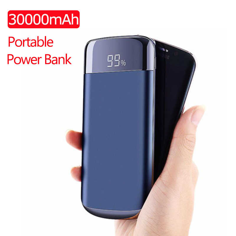 30000 MAh Power Bank External Battery Poverbank 2 USB LED Powerbank Portable Mobile Phone Charger untuk Xiaomi Iphone7 8 Huawei