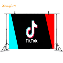 Sensfun Photography Background Tok Tik Musical Blue Red Birthday Photophone Photographic Backdrop Photo Shoot Studio Props Vinyl 5x7ft dark blue backdrop dark blue ocean world photography background and photography studio backdrop props