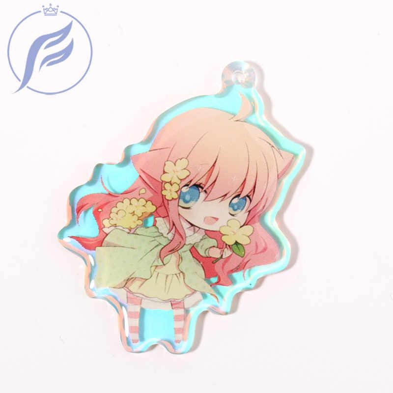 O costume do logotipo de fangqingmao 2 pces 6cm imprimiu encantos acrílicos do arco-íris, chaveiro transparente personalizado do anime dos desenhos animados