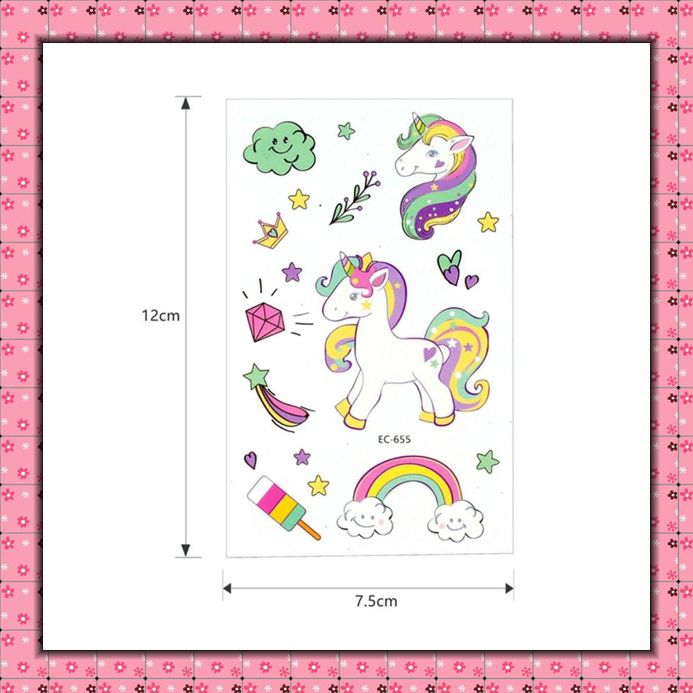 5Pcs Disposable Tattoo Sticker Unicorn Party Decoration Baby Kids Unicorn Birthday Party Favors Temporary Tattoos Supplies 3