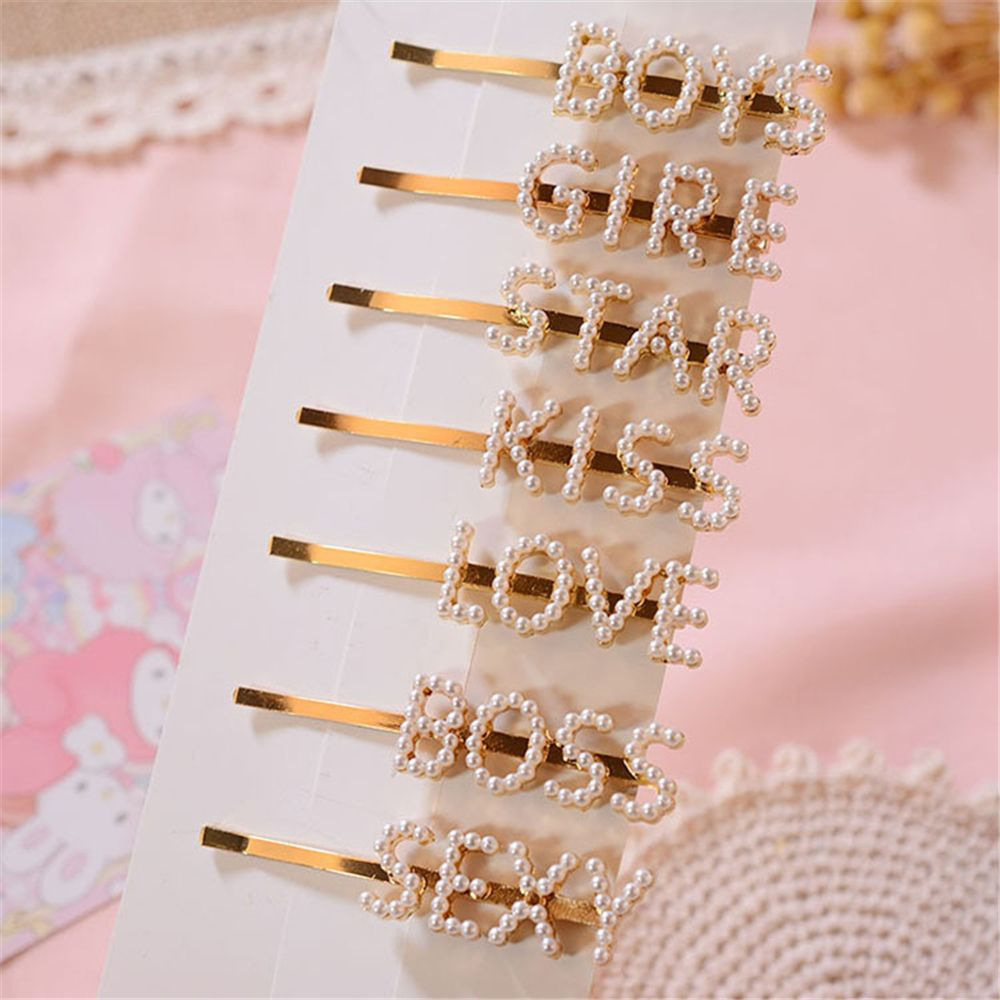 1Pcs English Letter Pearl Hairpin Retro Hairpin Hair Clip For Girls Adult Metal Barrettes Women Hair Accessories