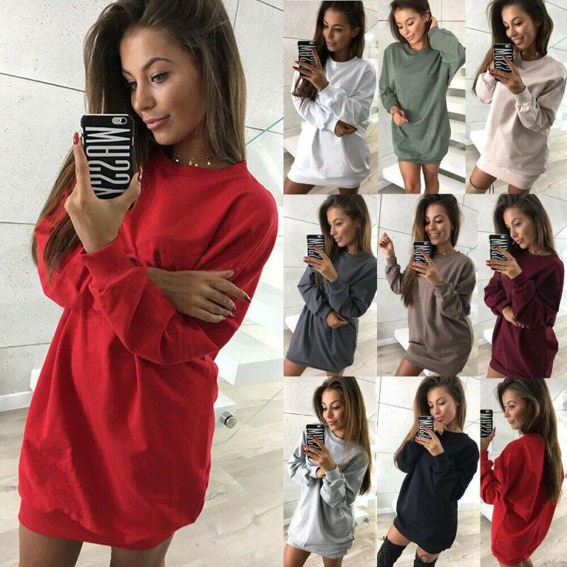 Women's Oversized Sweater Jumper Dress Ladies Hoodie Long Pullover Sweatshirt