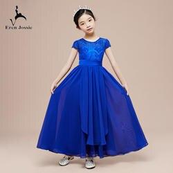 Eren Jossie элегантный насыщенного синего цвета кружевное платье для девочек украшение колье платье для сцены для девочек платье для дня