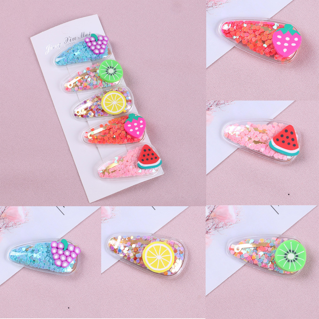 Kids Infant Baby Girls Cartoon Fruit Hairclip Headwear Children's transparent fruit hairpin baby BB clip hair accessories