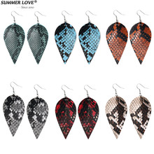 New Trendy Bohemia Double Side Hook Snake Skin Pattern Multi Colors PU Leaf Leather Dangle Earrings For Women Jewelry Gifts(China)