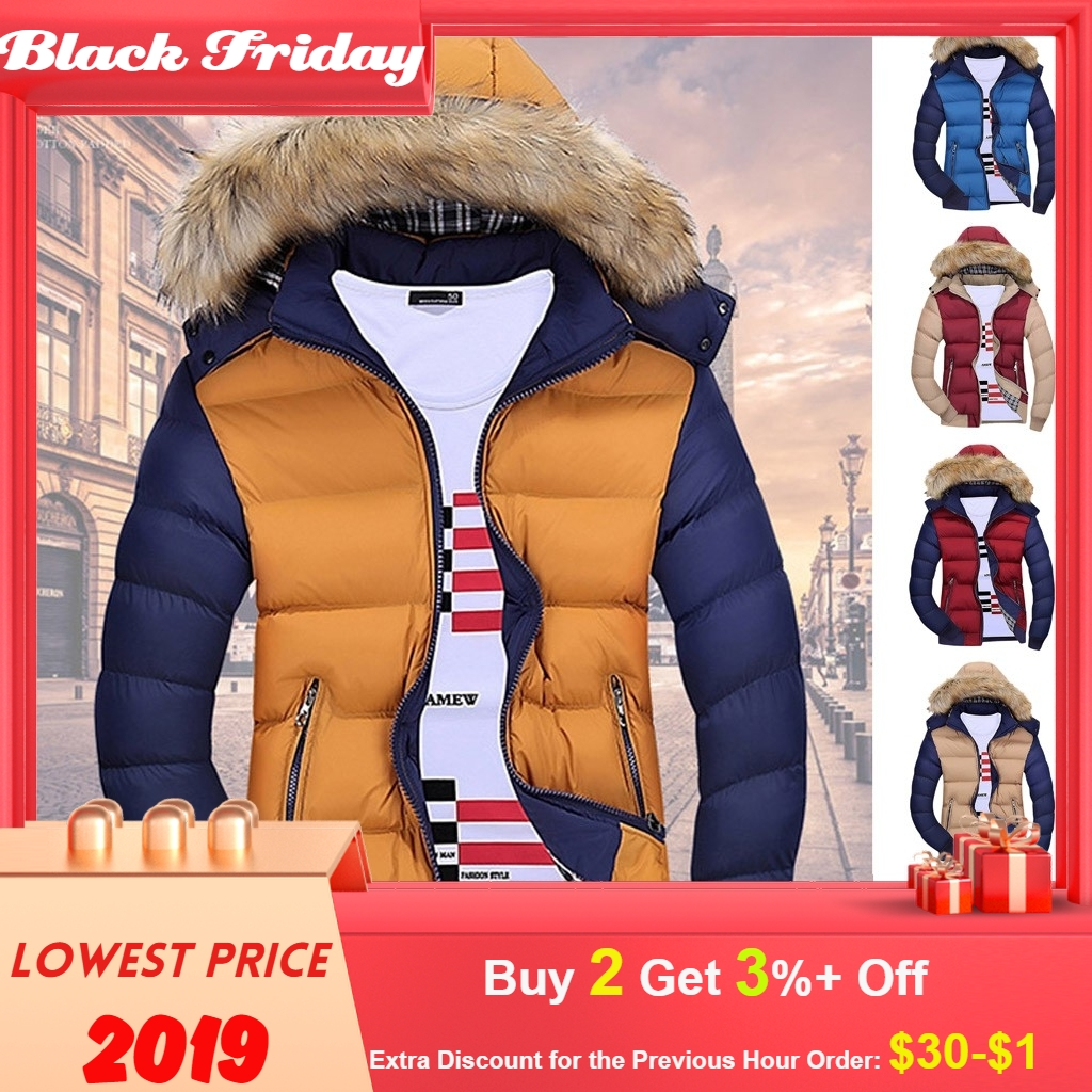 2019 Men Winter Coat Warm Fleece Down Jacket 9 Color New Fashion Fur Hood Hat Men Outerwear Casual Mens Coats Thick Hoodies 4XL