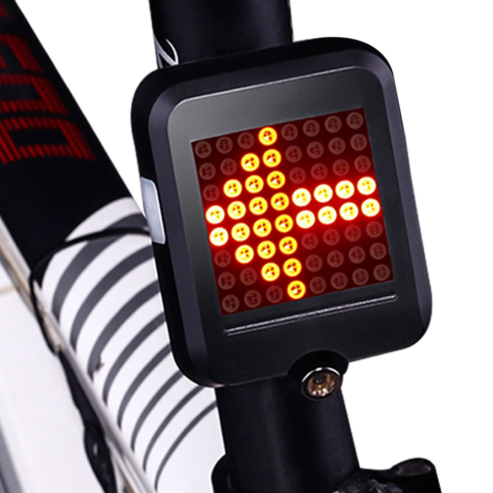 64 LED Automatic Direction Indicator Bicycle Rear Taillight USB Rechargeable Cycling MTB Bike Safety Warning Turn Signals Light