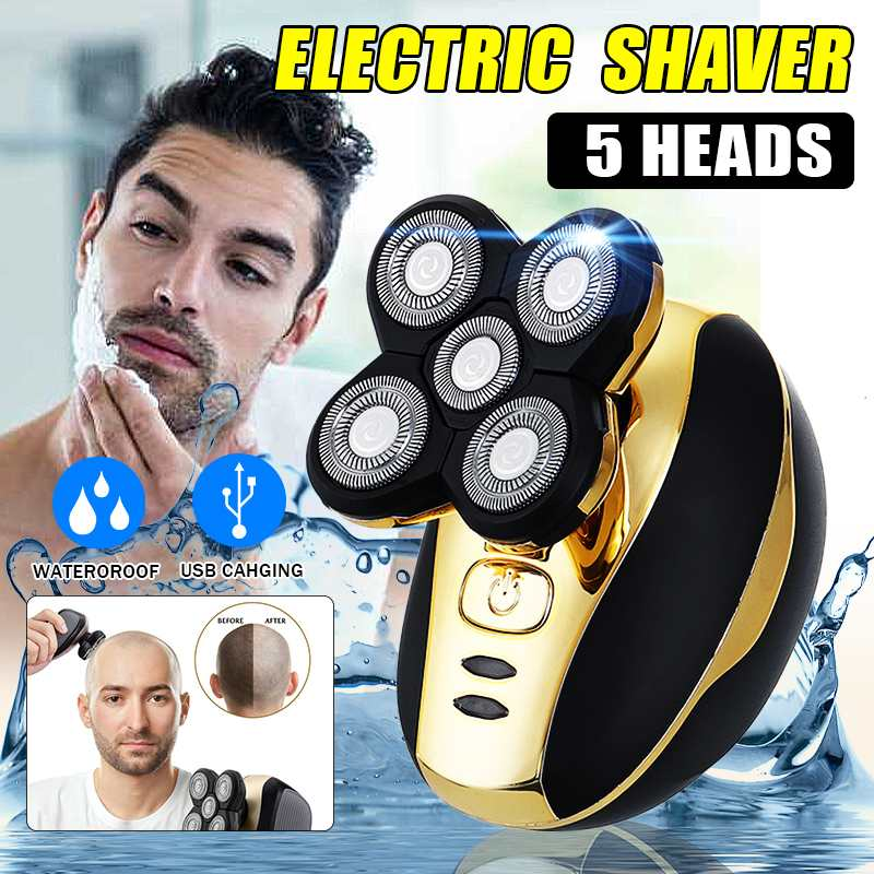 5 Heads Electric Shaver Men Head Polish Hair Trimmer USB Rechargeable Razor Washable 3D Floating Shaving Machine Wet & Dry